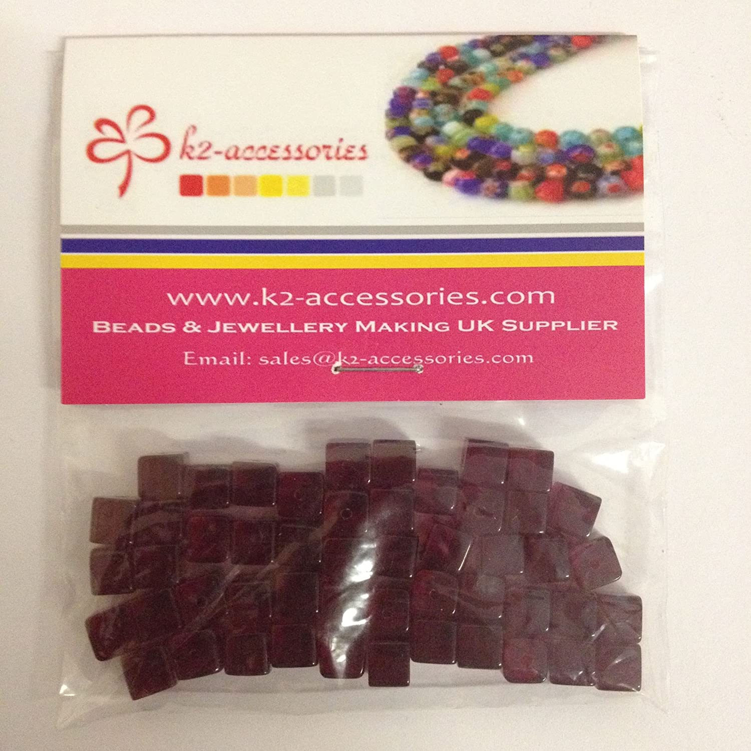 50 pieces 6mm Clipped Cube Style Value Crystal Glass Beads - Dark Red - A3047 k2-accessories