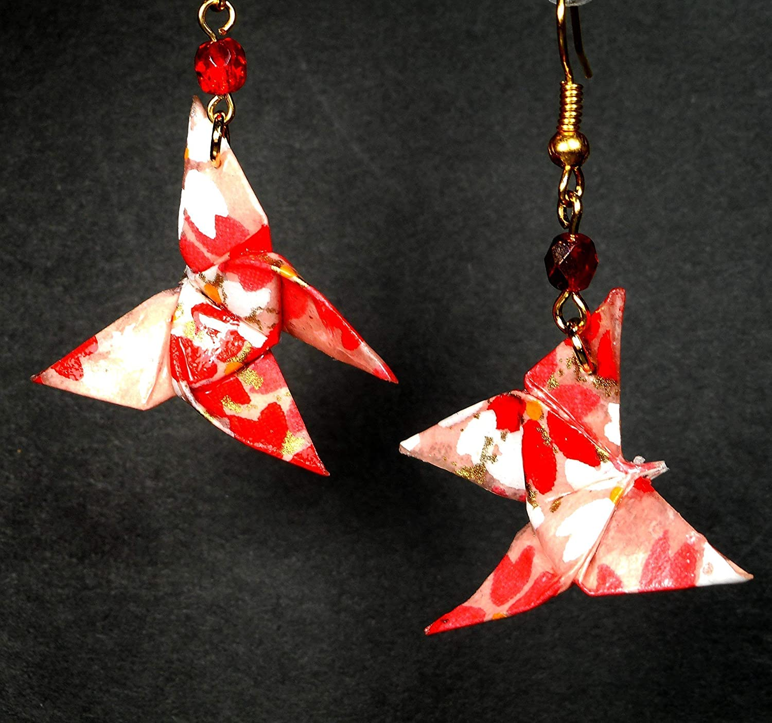 3 Pink Butterflies Origami earrings  in folded Japanese paper  available with clips  handmade gift for her