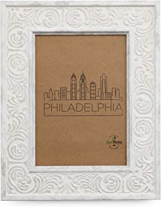 EcoHome 8x10 Picture Frame - Wall Mount or Desktop Display, Distressed White