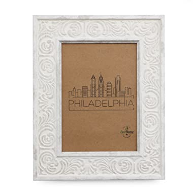 8x10 Picture Frame - Wall Mount or Desktop Display, Distressed White by EcoHome