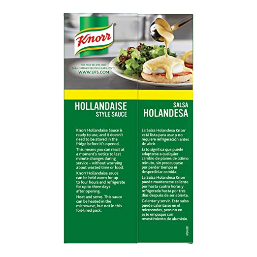 Knorr Professional Liquid Hollandaise Sauce Vegetarian, Ready to Use - Just Pour, Heat and Serve, 34.32 oz, Pack of 6