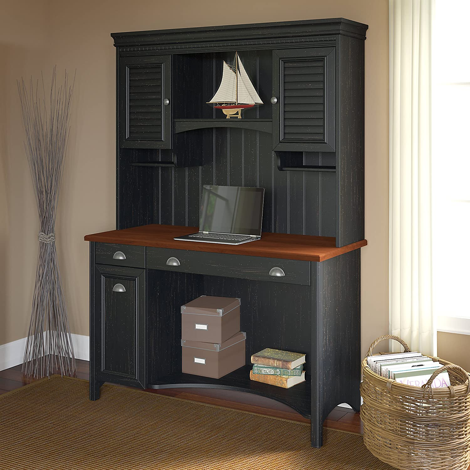 stanford computer desk with hutch in antique black