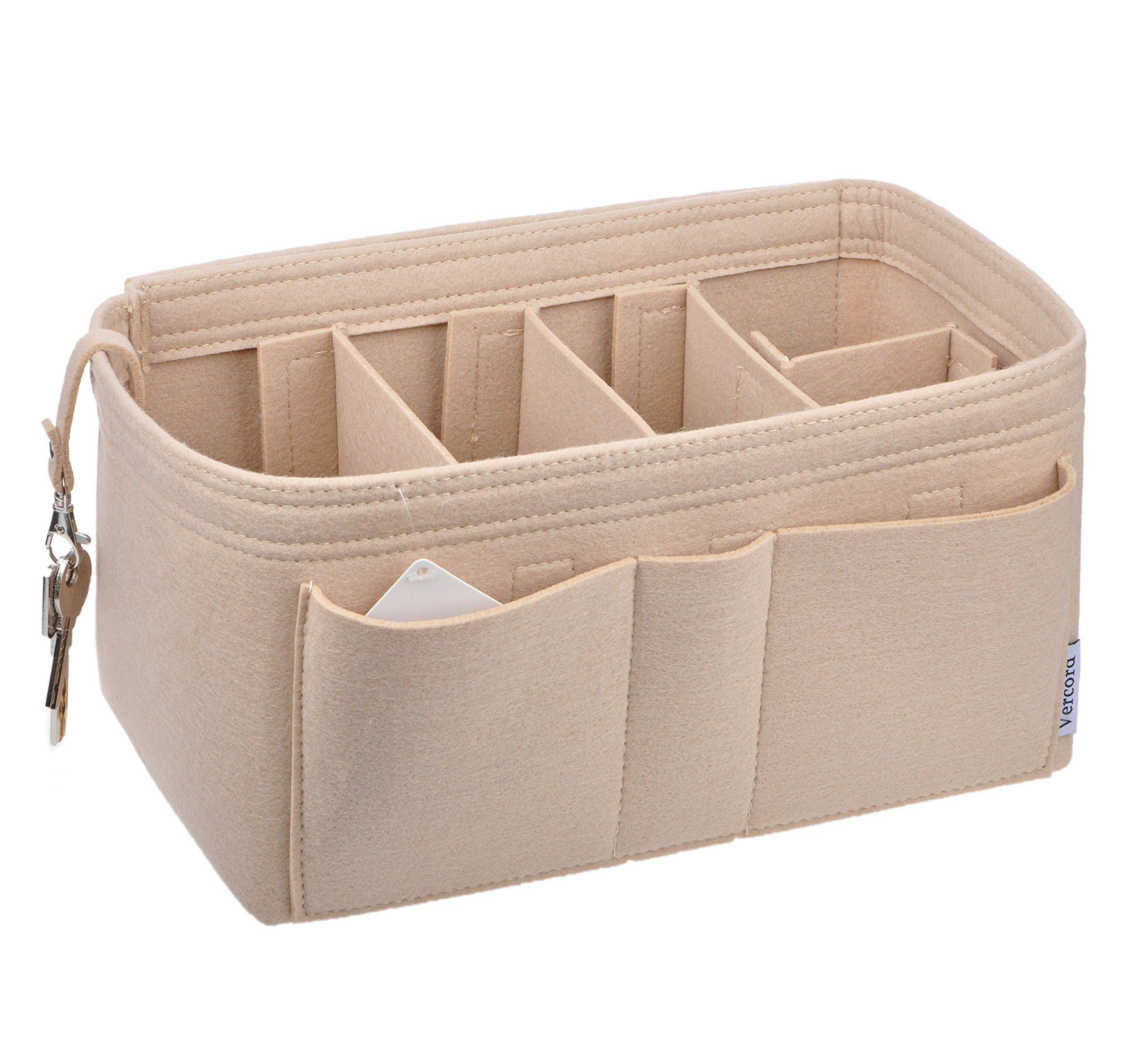 Vercord Felt Purse Handbag Organizer, Durable Insert Shaper 11 Pockets For Neverfull Speedy, Beige M