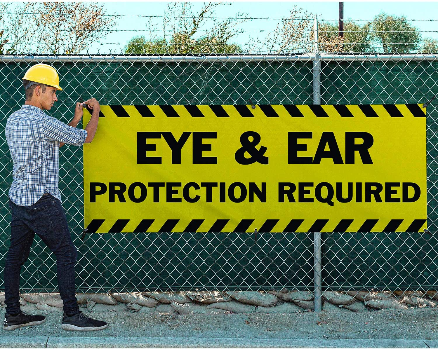Includes Zip Ties Easy Hang-Made in USA Eye /& Ear Protection Required Vinyl Banner-Heavy Duty Outdoor 4X12 Foot-Yellow HPB CUSTOM