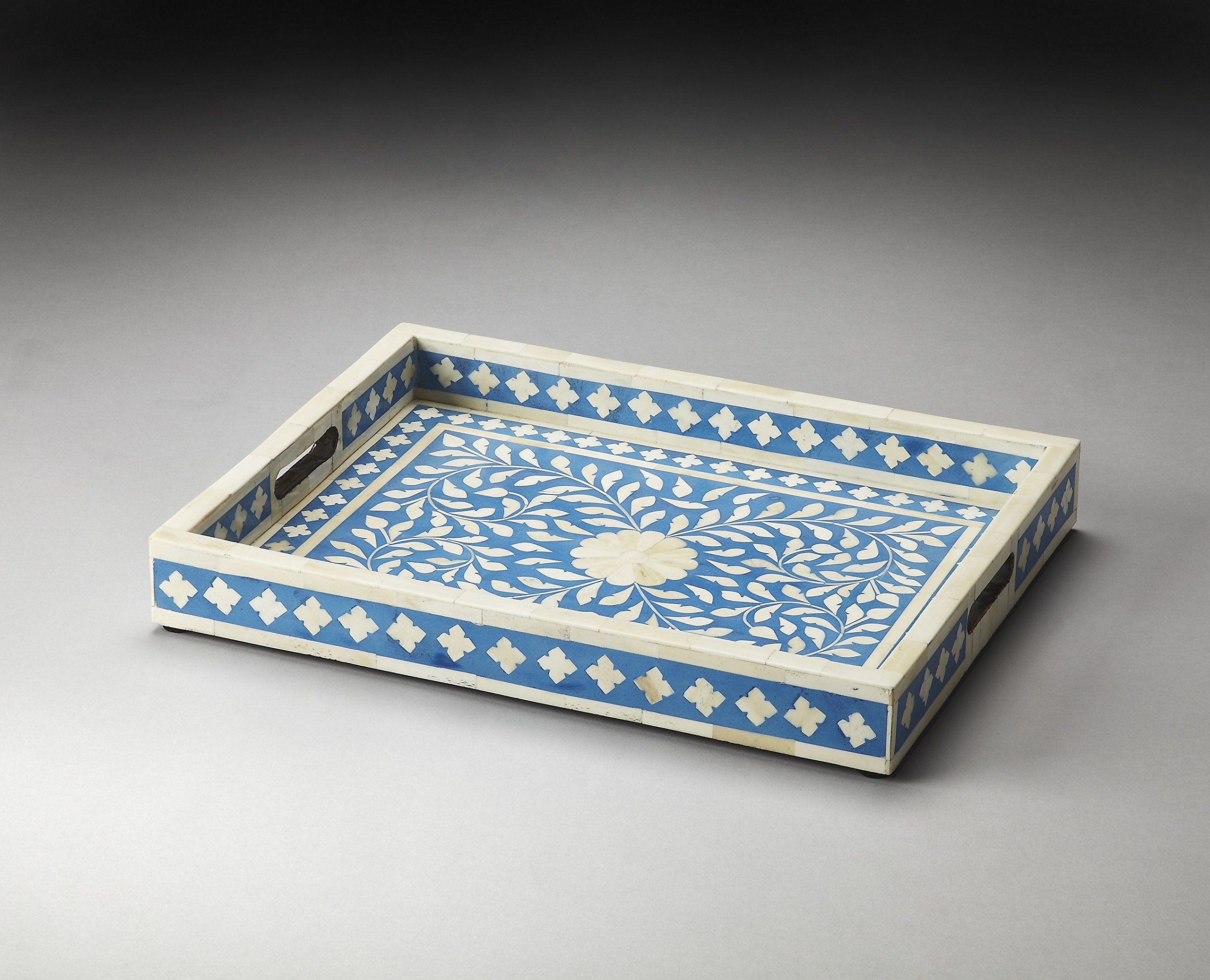 Butler 3231016 Vivienne Serving Tray, 17-3/4'' x 13-3/4'' x 2-1/2'', Hors D'oeuvres/Blue Bone Inlay Finish