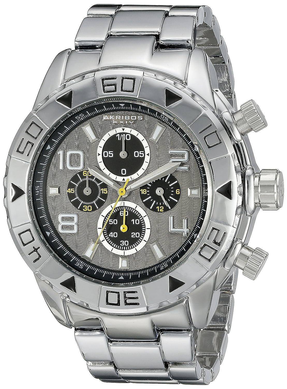 Akribos XXIV Men 's ak814ssbクロノグラフクオーツMovement Watch with Silver Dial andブレスレット B00UZ1DD9E