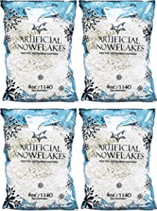 Black Duck Brand Set of 4 Snow Artificial Flakes 4 Oz Bags! Festive Fake Snow for Crafts, Christmas, and Decor!