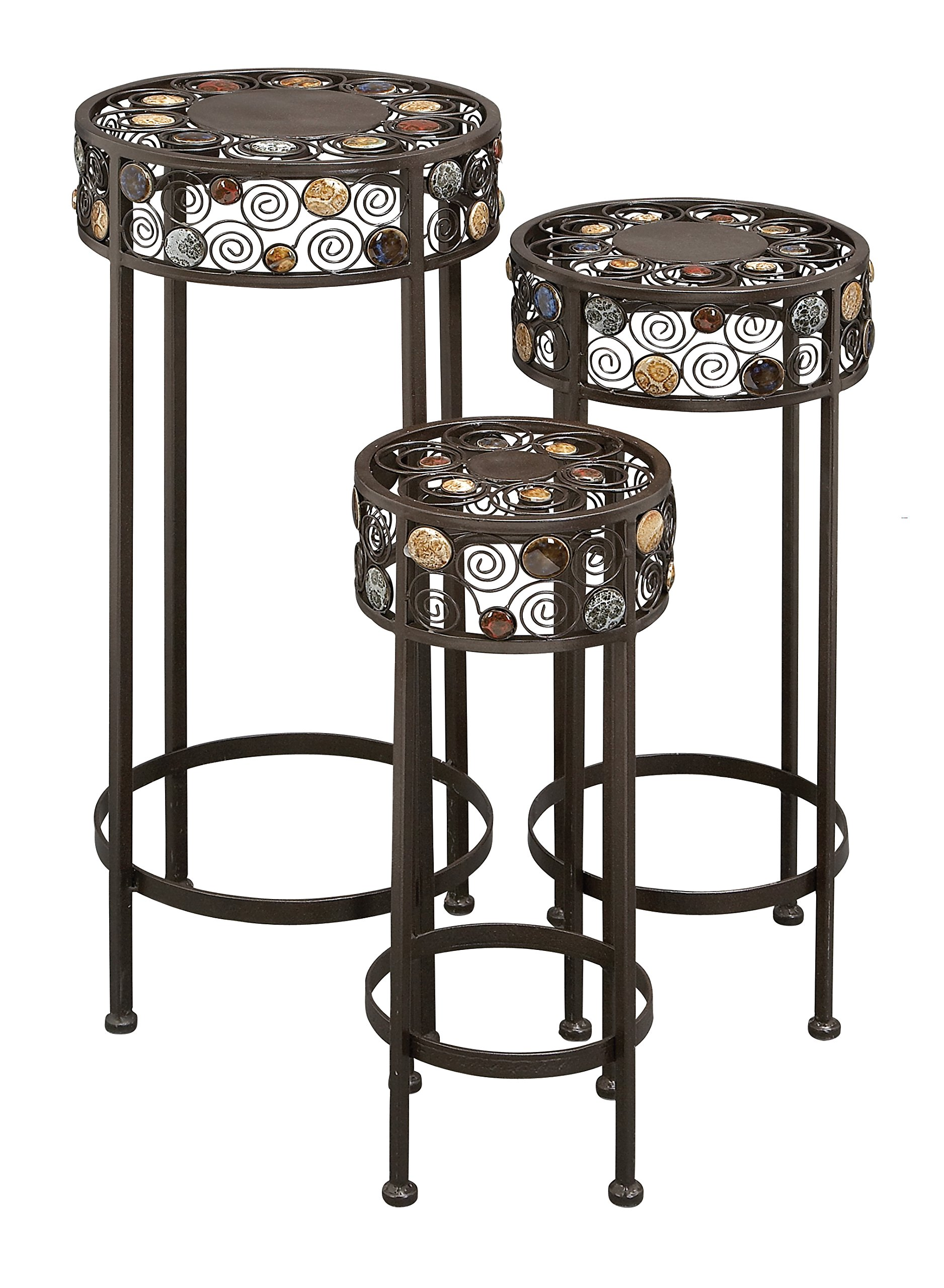 Deco 79 Metal/Ceramic Plant Stand 28-Inch, 24-Inch, 20-Inch, Set of 3