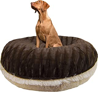 product image for BESSIE AND BARNIE Signature Godiva Brown/Blondie Luxury Shag Extra Plush Faux Fur Bagel Pet/Dog Bed (Multiple Sizes)