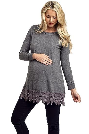 97da88e0a9 PinkBlush Maternity Charcoal Crochet Trim 3 4 Sleeve Maternity Top ...