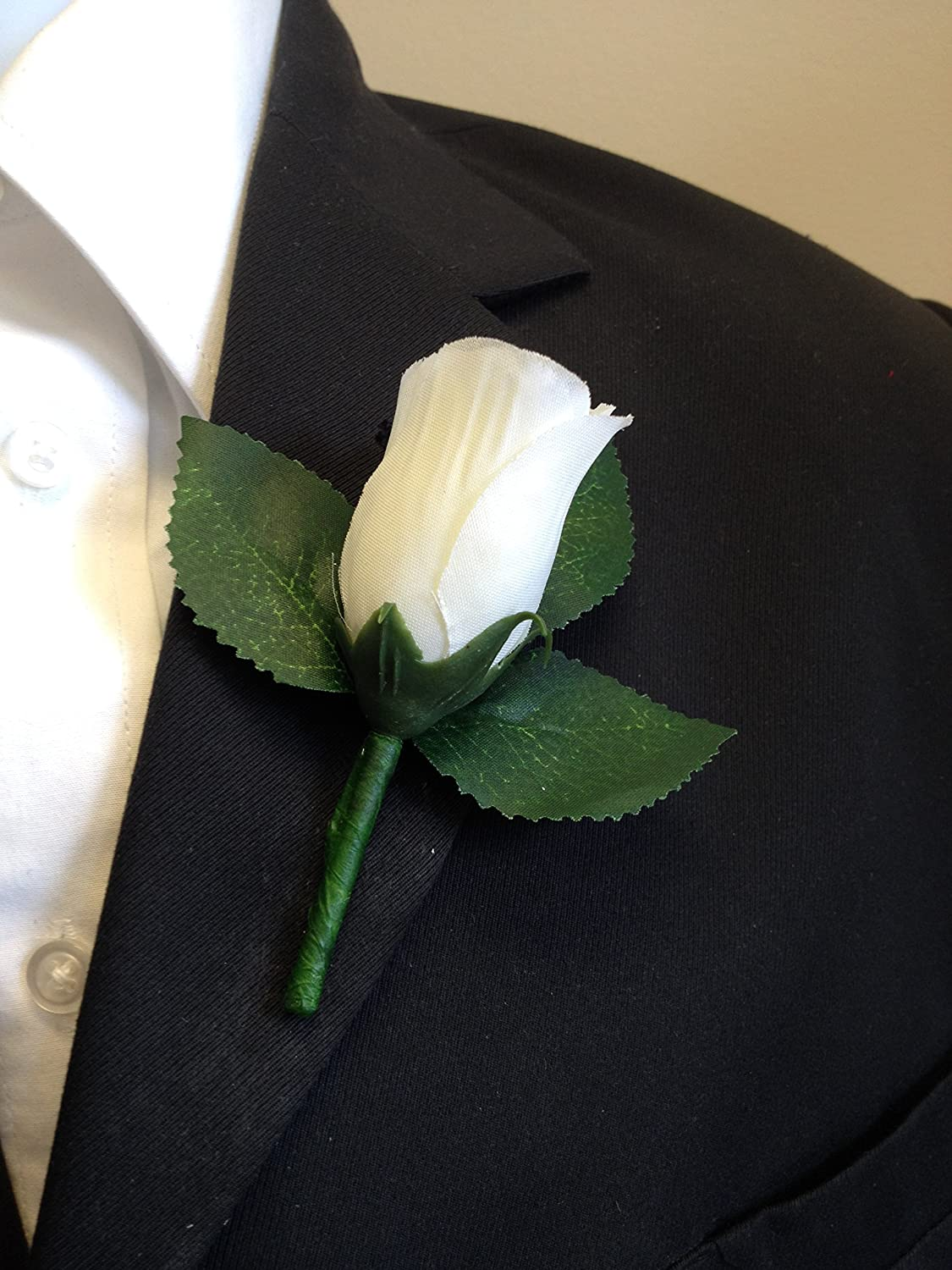 Ivory Rose Boutonniere with Pin for Prom, Party, Wedding Angel Isabella
