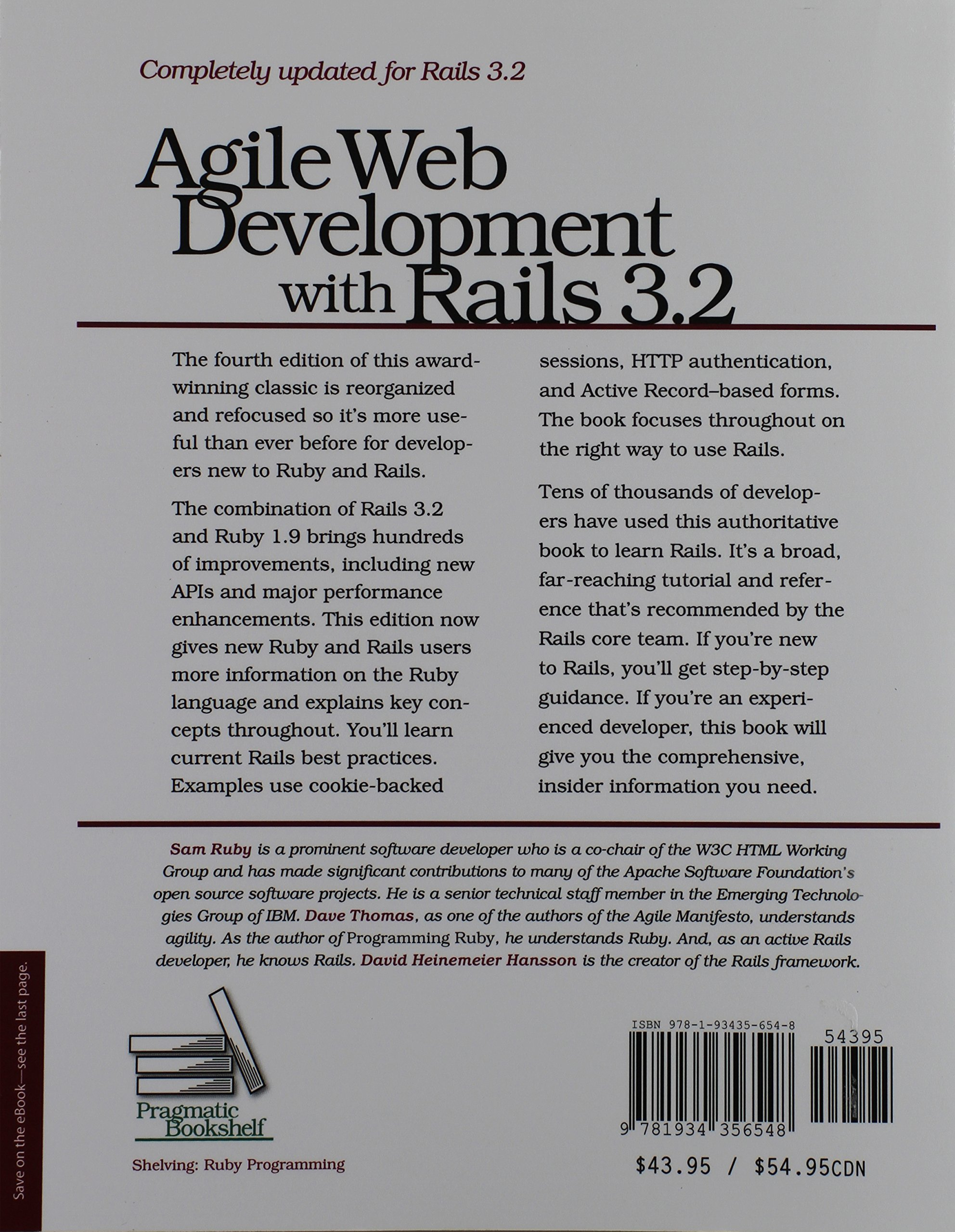 Agile web development with rails 3 2 pragmatic programmers amazon co uk sam ruby dave thomas david heinemeier hansson 9781934356548 books