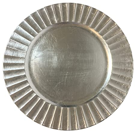 elegant large 13 silver fluted charger plate christmas cookie serving round plate