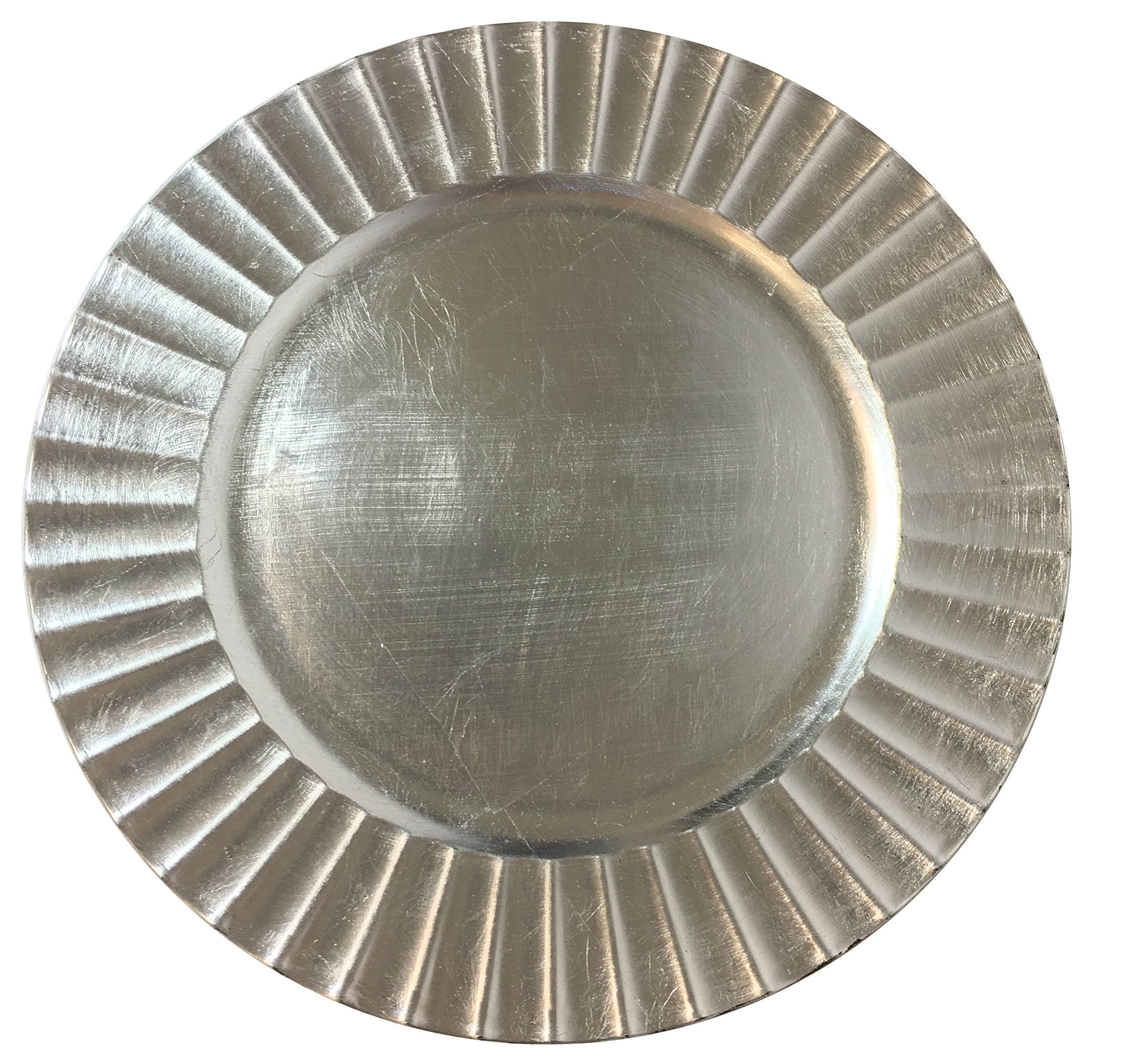 Elegant Large 13'' Silver Fluted Charger Plate Christmas Cookie Serving Round Plate (4)