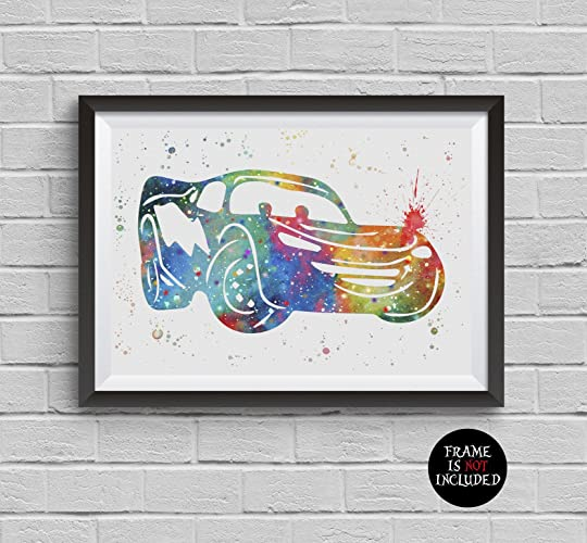 Amazon.com: Lighting McQueen Watercolor Cars Disney Pixar Print ...