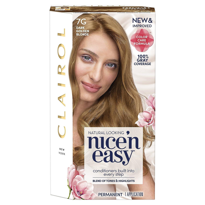 Clairol Nice'n Easy Permanent Hair Color, 7G Dark Golden Blonde, Pack of 1