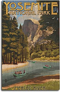 product image for Lantern Press Yosemite National Park, California - Merced River Rafting (10x15 Wood Wall Sign, Wall Decor Ready to Hang)