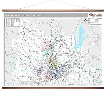 Springfield Va Zip Code Map.Amazon Com Springfield Ma Metro Area Wall Map 2018 Zip Codes