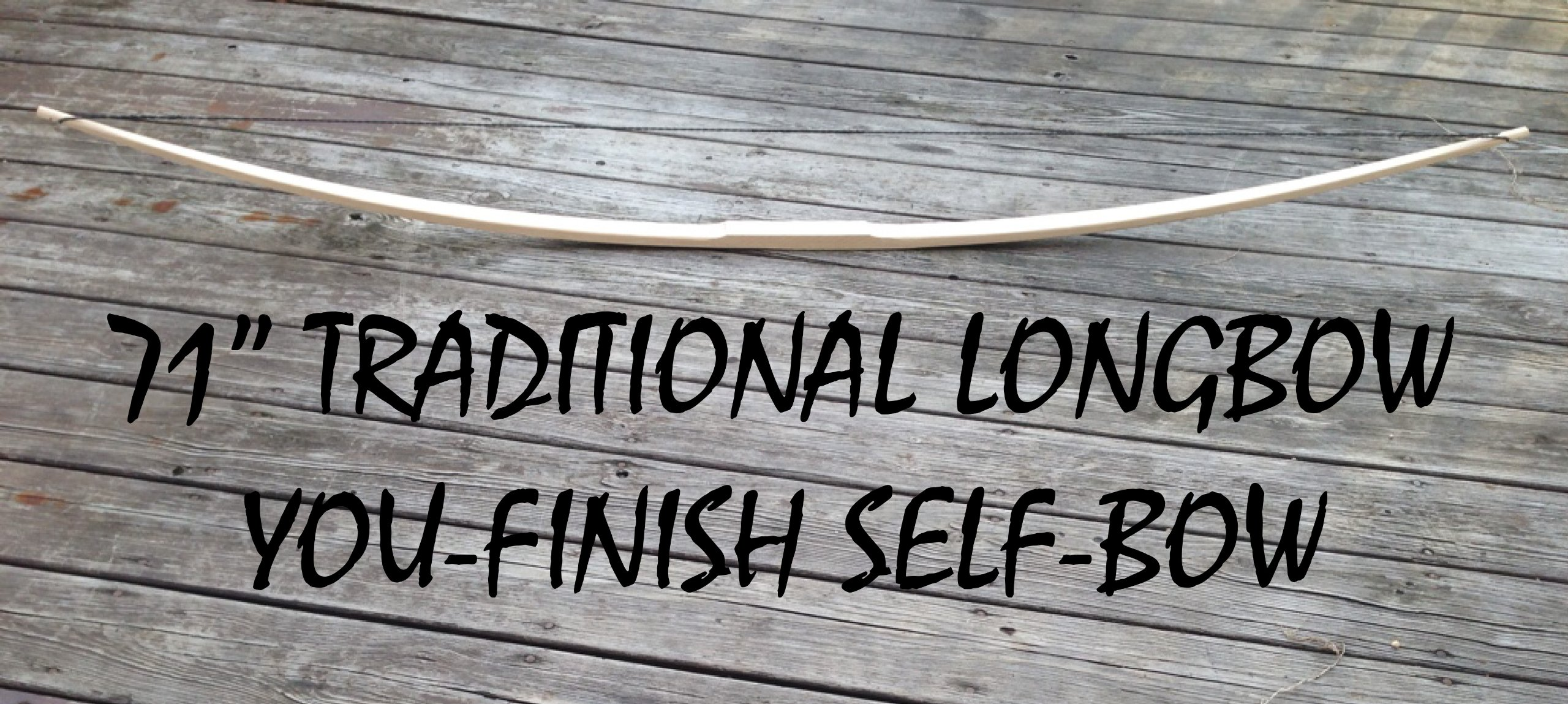 50lb 71'' You-Finish Traditional Hickory Longbow! Competition or Hunting Bow! Wood Archery! by RingingRocksArchery.com (Image #1)