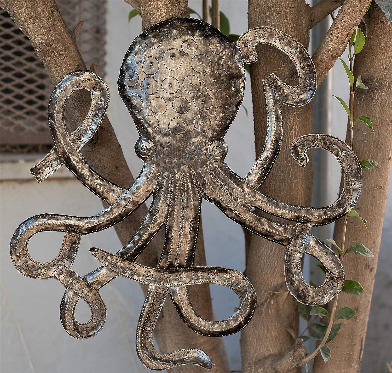 Hecho a Mano Pulpo Mar Decoración de la Pared de Haití, Metal Art ...