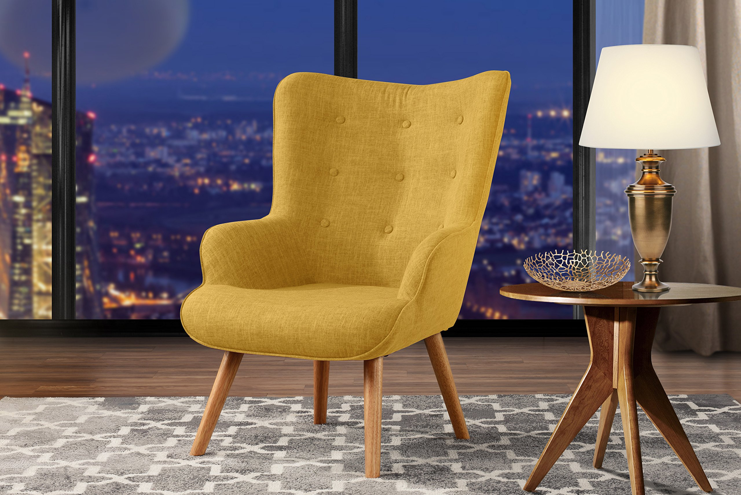 Accent Chair for Living Room, Upholstered Linen Arm Chairs with Tufted Button Detailing and Natural Wooden Legs (Yellow) - Divano Roma Furniture launches its new classic style accent chair upholstered with linen fabric that includes tufted button detailing on the backrest. Comfortable and sturdy, this chairs comes with high density memory foam cushions that have hypoallergenic stuffing, making them ideal for people who suffer from dust allergies. Available in blue, this stylish arm chair is a great addition to your living room, bed room, guest room and kid's room. - living-room-furniture, living-room, accent-chairs - 91jpATpVU9L -
