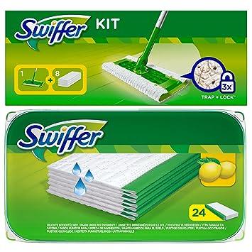 1 x Swiffer Starter Set suelo Varilla Con 8 Seco paños 1 x 24 er