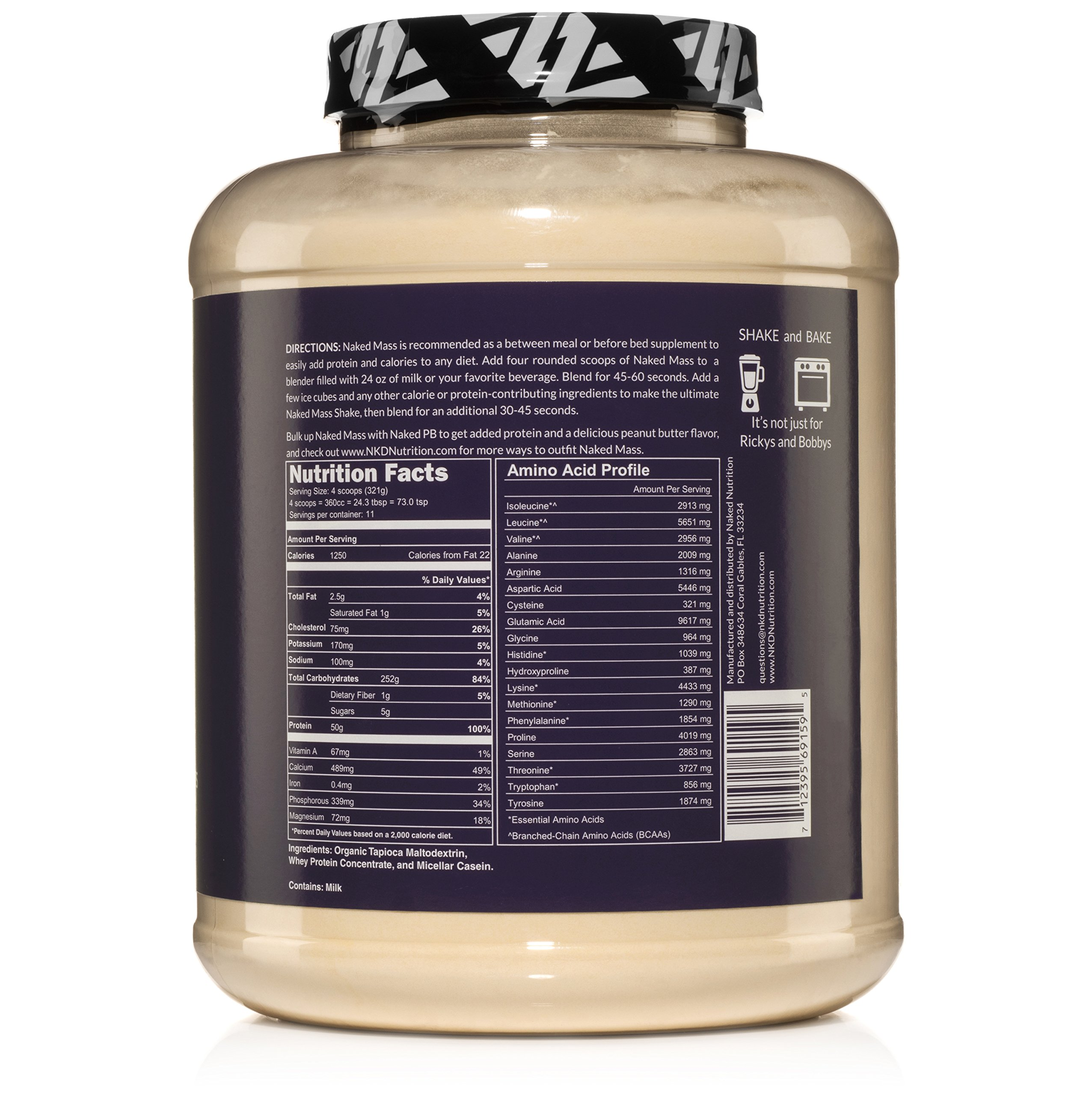 Weight Gainer Protein Supplement 8lb - Naked Mass