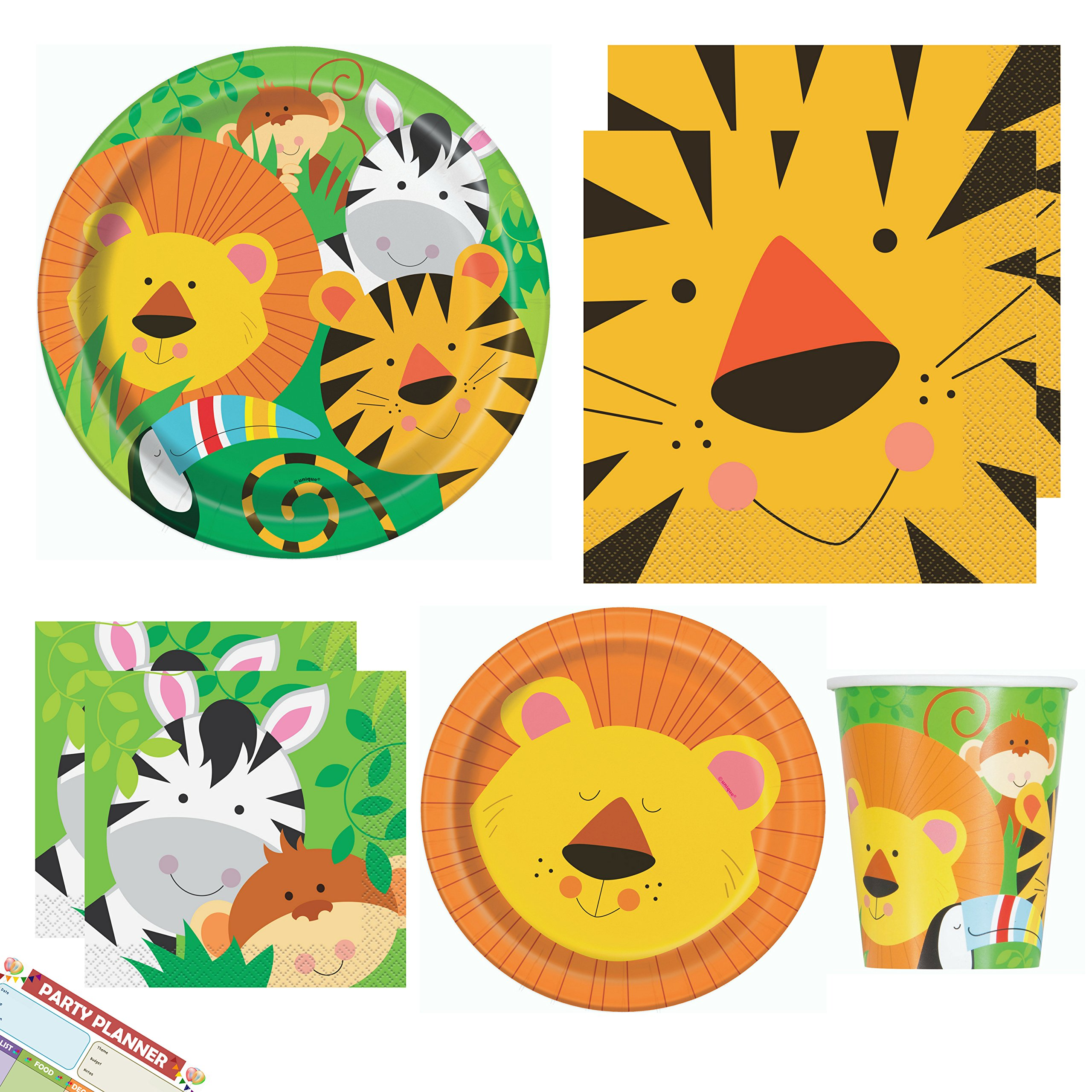 Animal Jungle Tableware Party Supplies | Safari Woodland Napkins, Paper Dinner Plates, Dessert Cake Plates, Cocktail Napkins and Cups | Bundle for Birthday Party, Baby Shower | Serves 16 Guests
