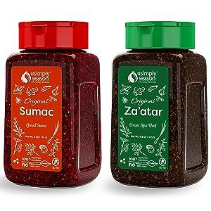 USimplySeason Original Zaatar 4.8 Ounce & Sumac 5 Ounce Bundle (1 pack each)