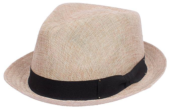 DRY77 Porkpie Pork Pie Fedora Hat Trilby Cuban Cap Linen Cotton up Short  Brim aec4f6d28e0