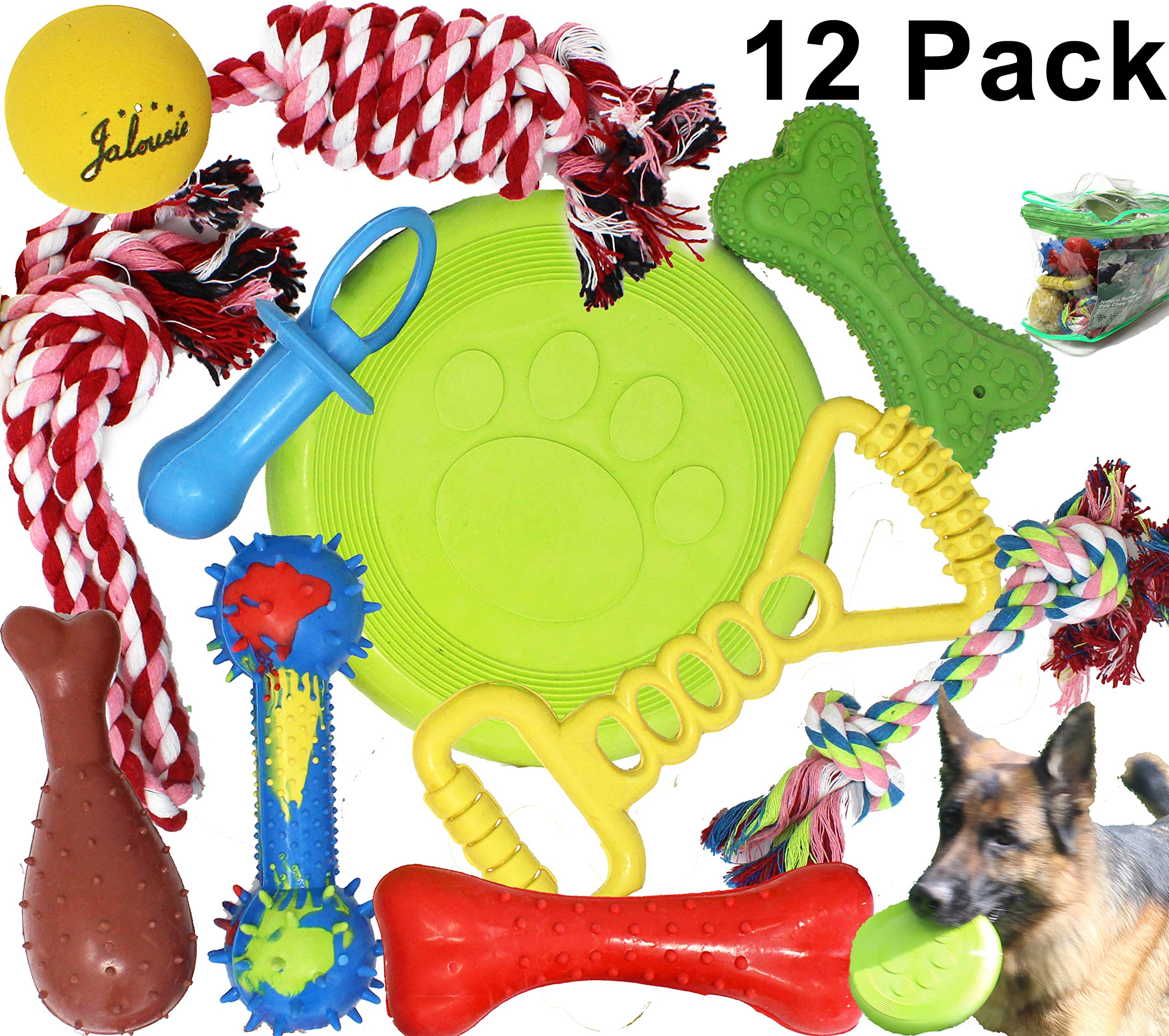 Jalousie 12 Pack Dog Chew Toy Natural Rubber chew Toy for Interactive Play Toy Ball Rope Rubber Value Set for Small to Medium Breed Dog mutt Puppy