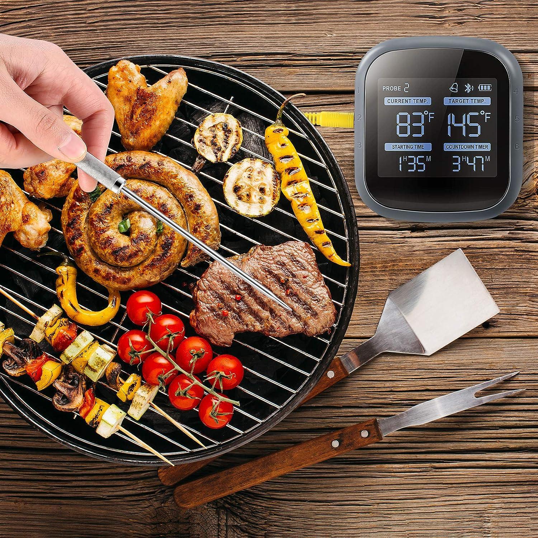 Term/ómetro inal/ámbrico para barbacoa Zum Grillen mit 6 Farbigen Sonden,temporizador,alarma,LCD-Bildschirm,barbacoa inteligente Kochen K/üche Essen Fleisch Term/ómetro para Ofen,iOS//Android