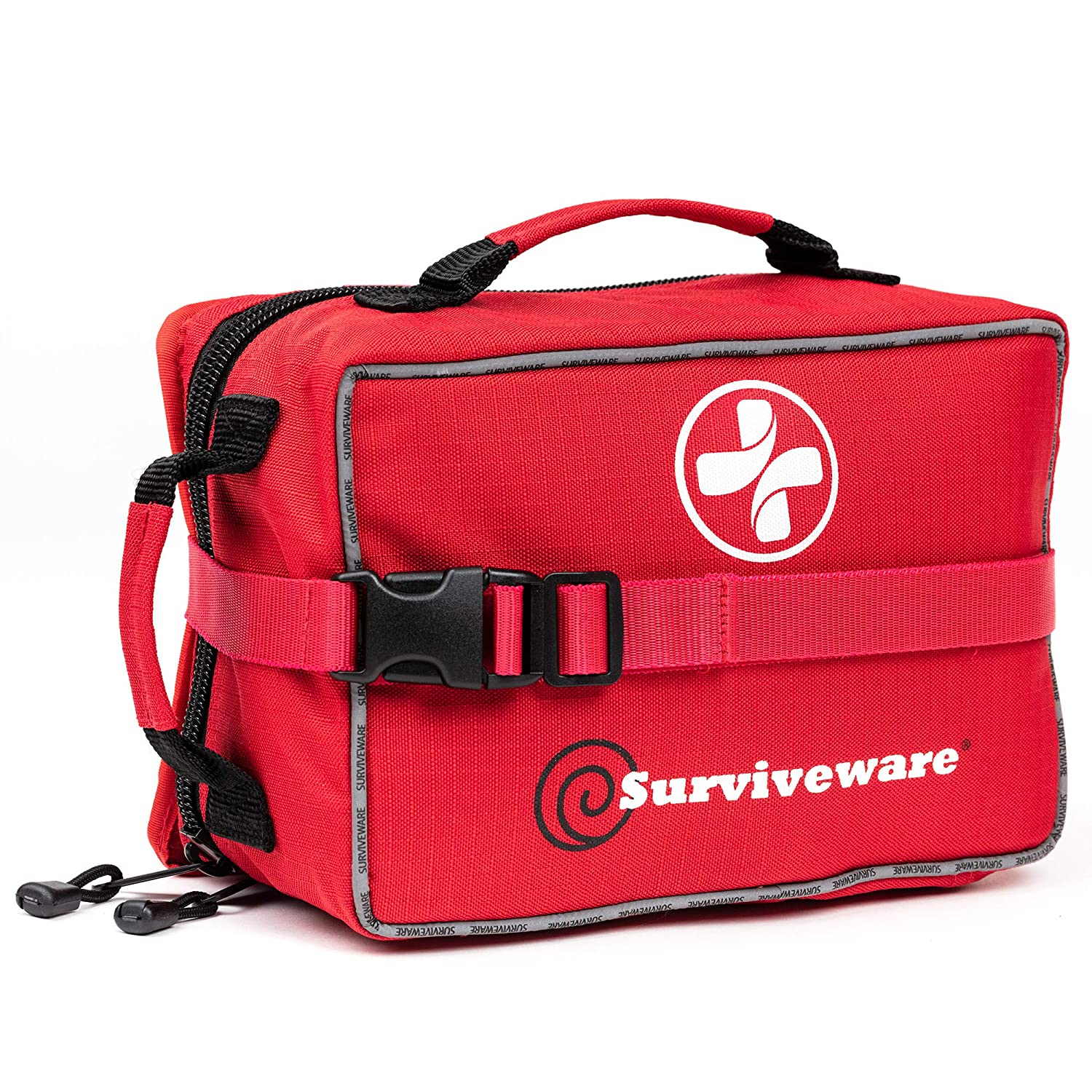 Surviveware Large First Aid Kit for Extended Camping Trips, Cars, Boats, Trucks, Office, Home and Family Use with Bonus Mini Kit