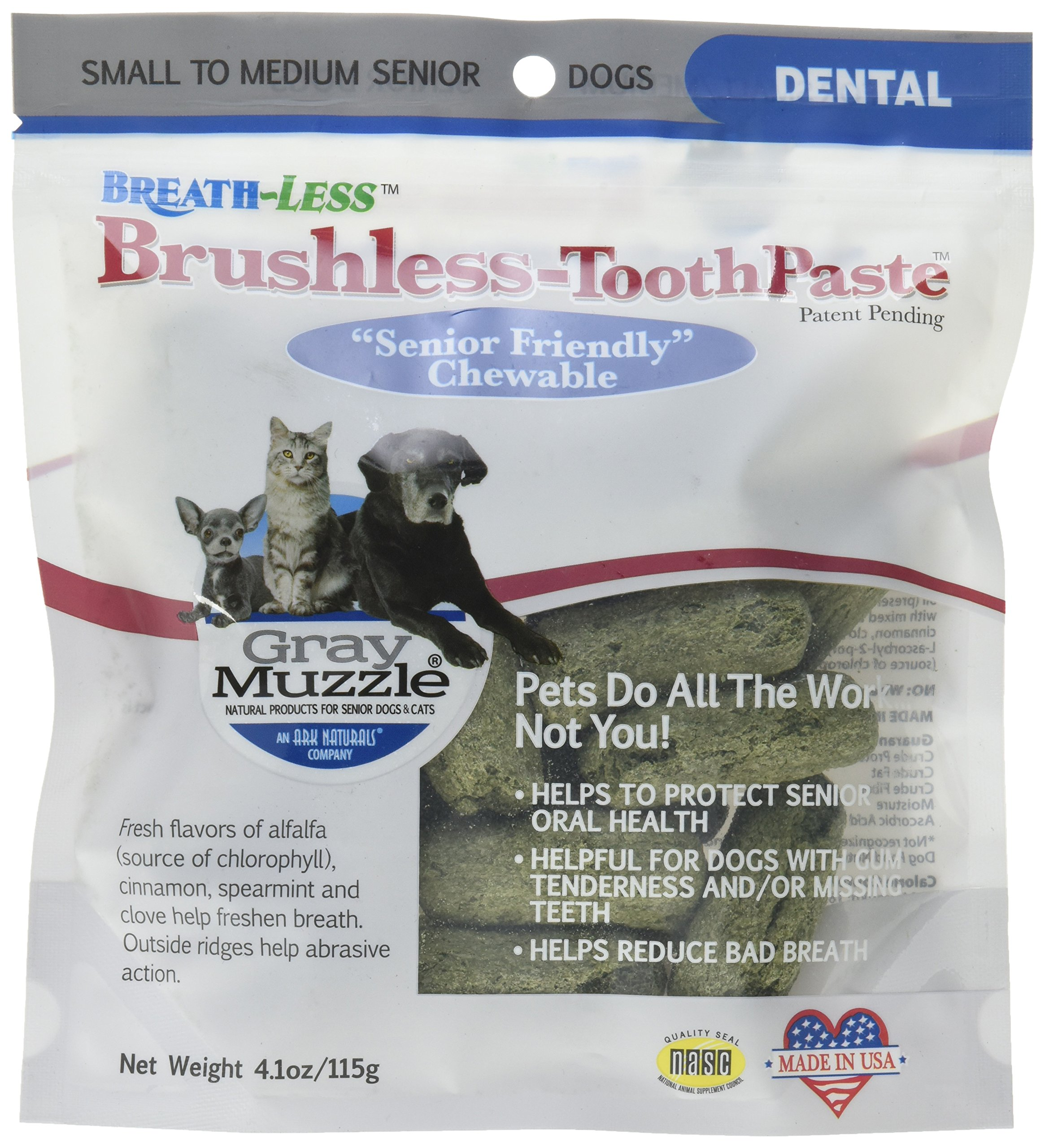 Ark Naturals Ark-4710064-1 Gray Muzzle Brushless Tooth Paste Chewable Dental Treats for Dogs, 4.1 oz