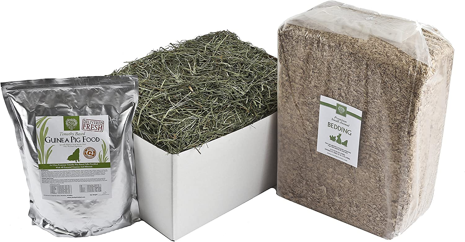 Small Pet Select Deluxe Combo Pack: Timothy Hay (20 Lb.), Guinea Pig Food (10 Lb.), Bedding (178L)