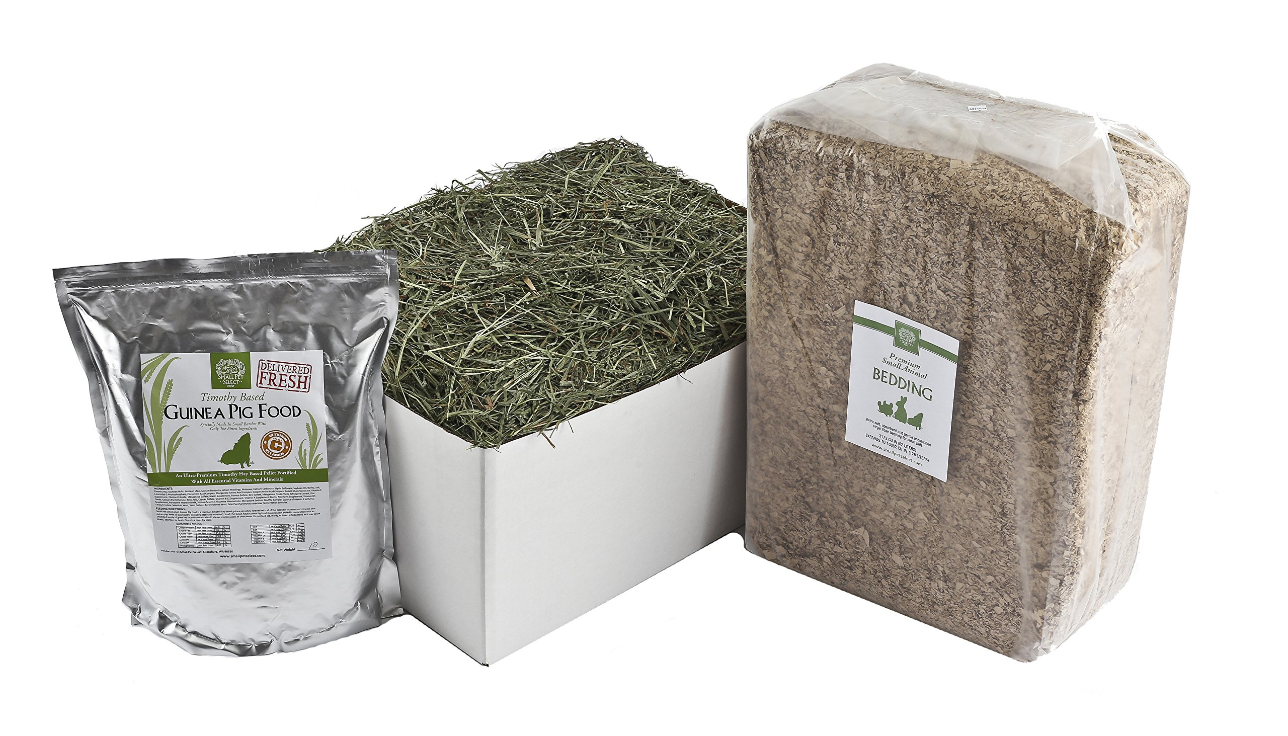 Small Pet Select Deluxe Combo Pack: Timothy Hay (20 Lb.), Guinea Pig Food (10 Lb.), Bedding (178L) by Small Pet Select