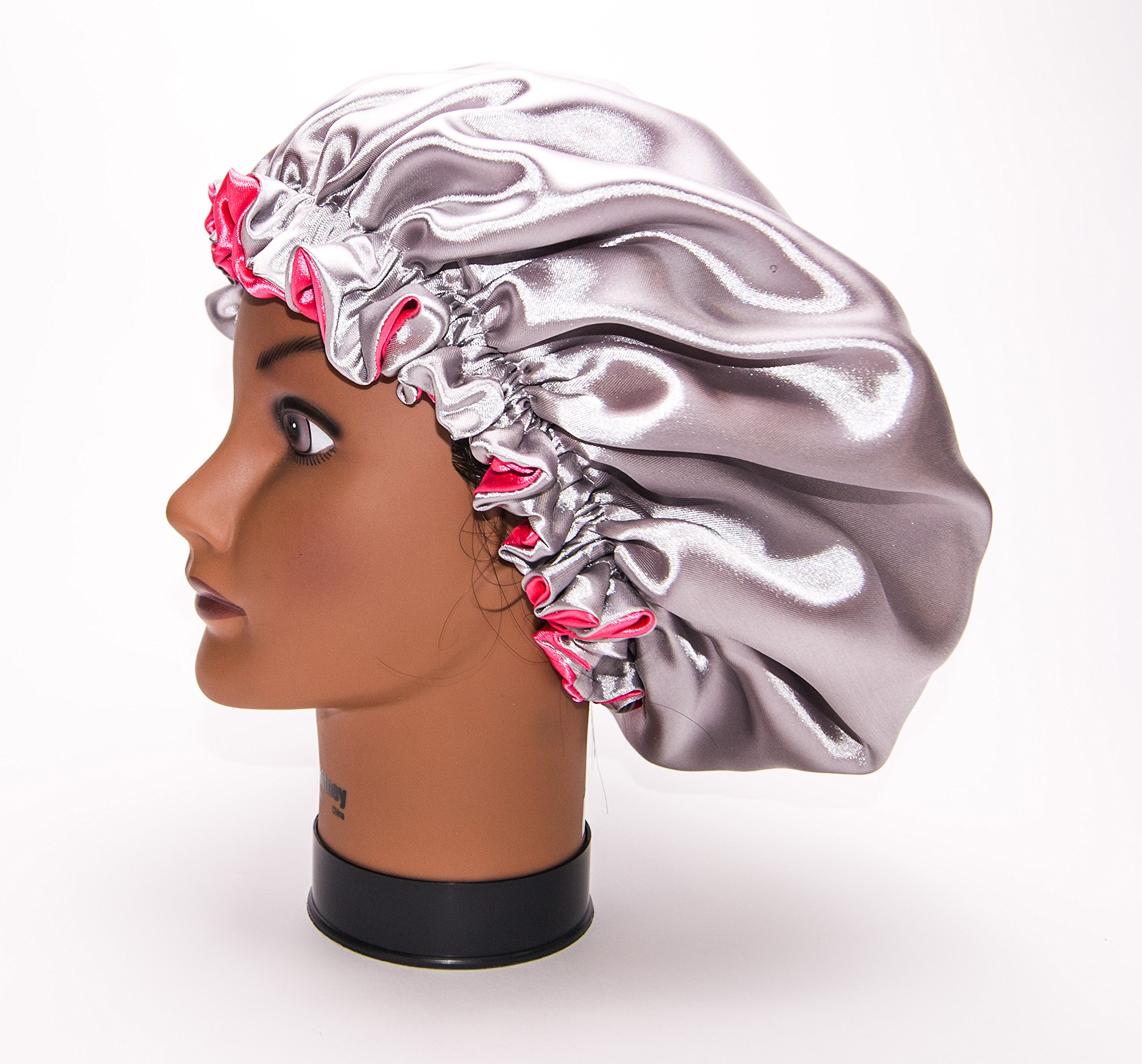 (KINKY PINK & SILVER) (XX-LARGE JUMBO) 26Inch Reversible Luxuries Pure Satin Hair Bonnet -Safe For All Hair Types - Most Beneficial hair wrap for sleeping cap 50+ colors Available by Royal Sensations Satin Bonnet