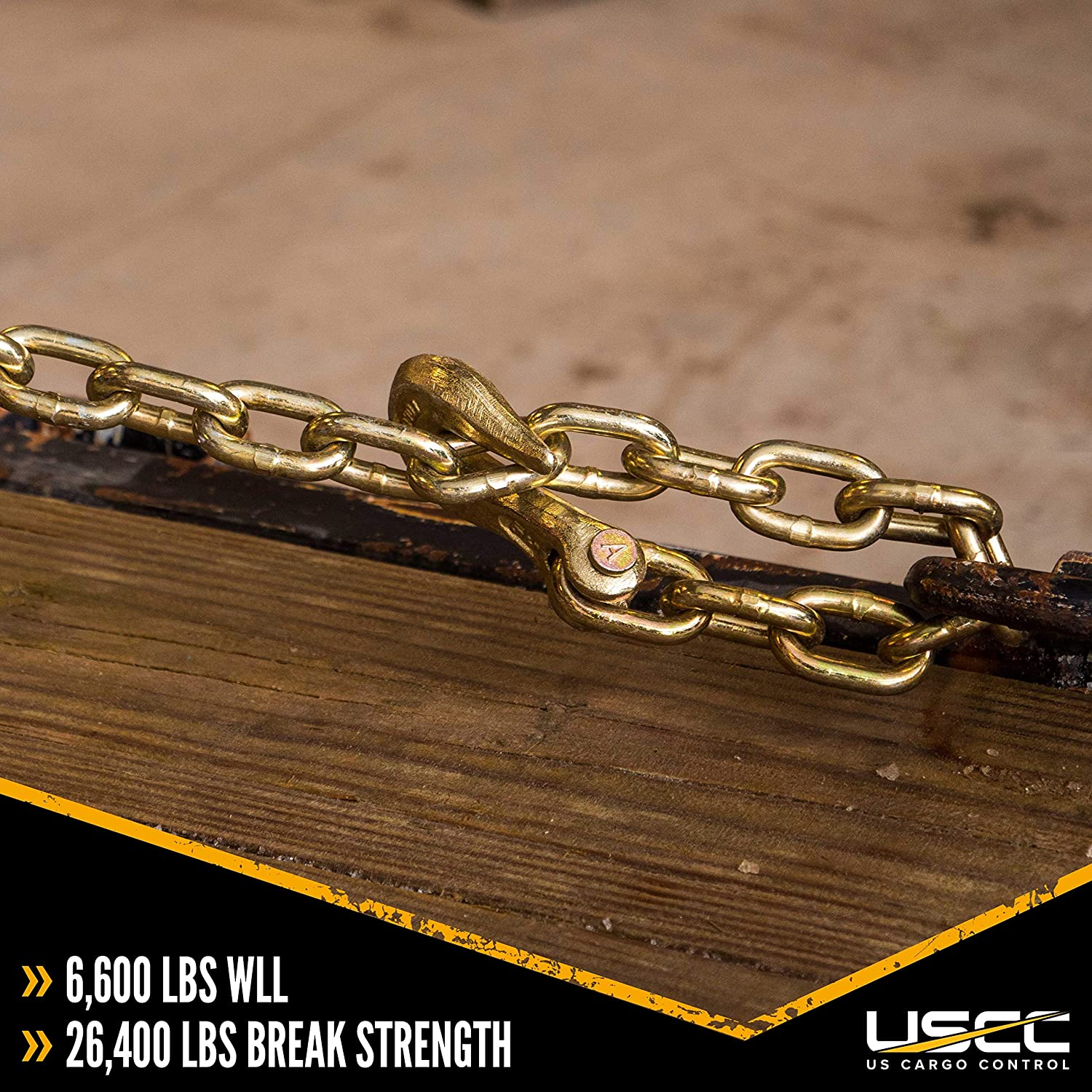 6,600 Pound Working Load Limit 3//8 Inch x 16 Foot Load Chain US Cargo Control Grade 70 Transport Chain with Clevis Grab Hooks Easily Secure Heavy Loads to A Truck Or Flatbed Trailer