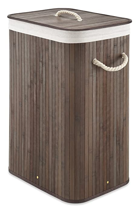 Whitmor Laundry Hamper with Rope Handles Bamboo, 12.25x16.25x23.375, Dark Stain