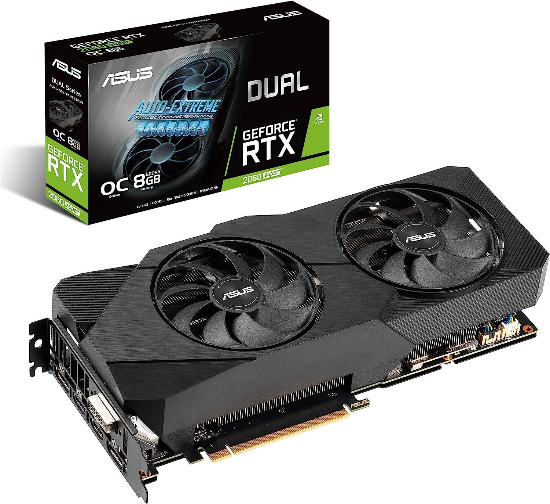 ASUS Dual NVIDIA GeForce RTX 2060 Super EVO V2 OC Edition Gaming Graphics Card (PCIe 3.0, 8GB GDDR6 Memory, HDMI, DisplayPort, DVI-D, Axial-Tech Fan, 0dB Technology, DirectCU II, Auto-Extreme)