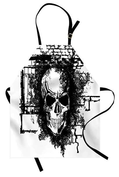 f2fb3ad46 Lunarable Tattoo Apron, Grunge Style Furious Looking Skull on a Brick Wall  Illustration Artwork Print