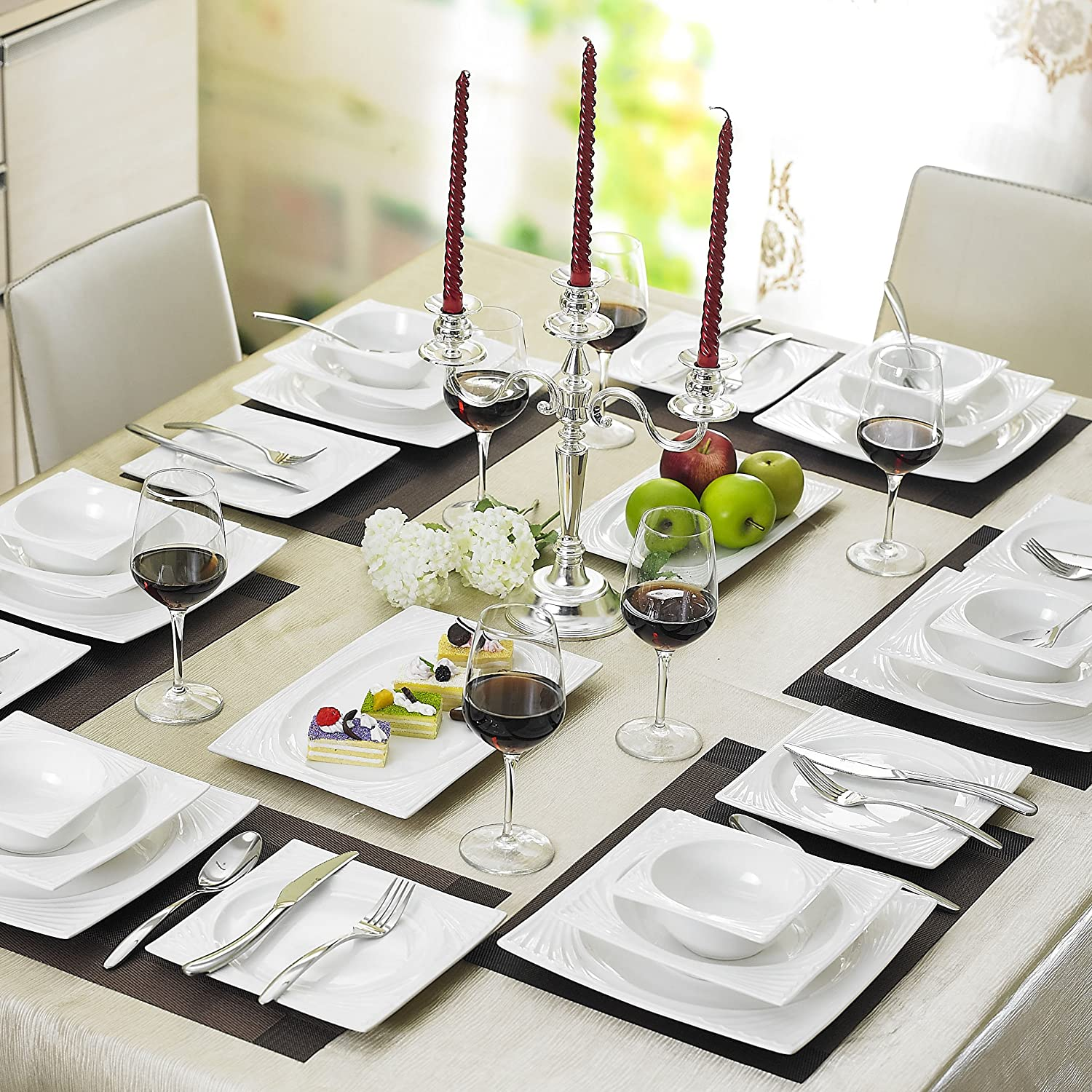 Malacasa Series Sabina 26-Piece China Ceramic Cream White Porcelain Dinner Set with 6-Piece Bowls 6-Piece Dessert Plates 6-Piece Soup Plates 6-Piece ... & Malacasa Series Sabina 26-Piece China Ceramic Cream White ...