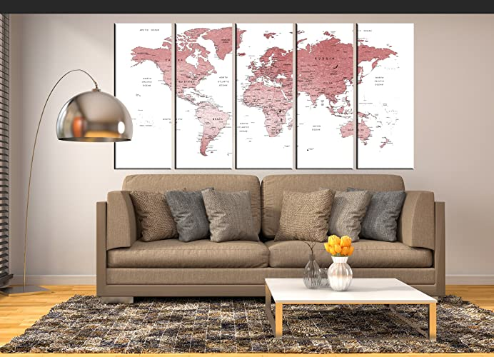 Amazon rose gold world map large canvas art framed travel map rose gold world map large canvas art framed travel map abstract wall art large wall map gumiabroncs Choice Image