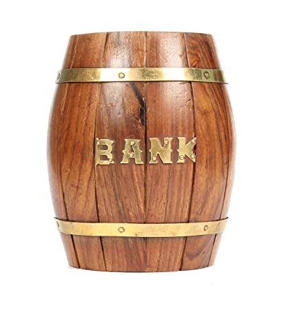 Varda Wooden Craft Brown Small Size Barrelpiggy Bank Amazonin