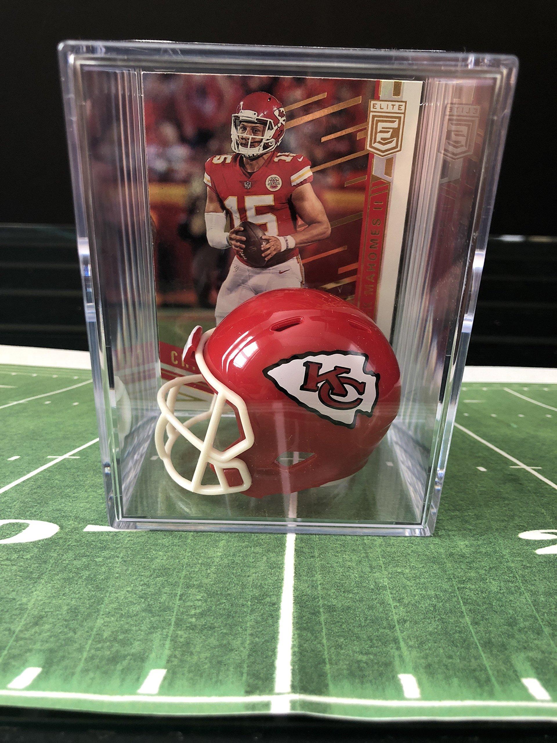Kansas City Chiefs NFL Helmet Shadowbox w/Patrick Mahomes card