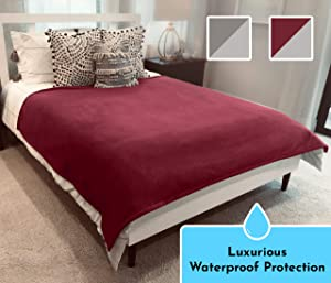 Waterproof 100% Leak Proof Cover: Luxury Blanket Top Throw for Adults People Kids Pets; Dog & Cat Pee-Proof; Quiet, Reversible; Furniture Protector Keeps Bed/Couch Clean & Dry; Fits King/Queen 65x80