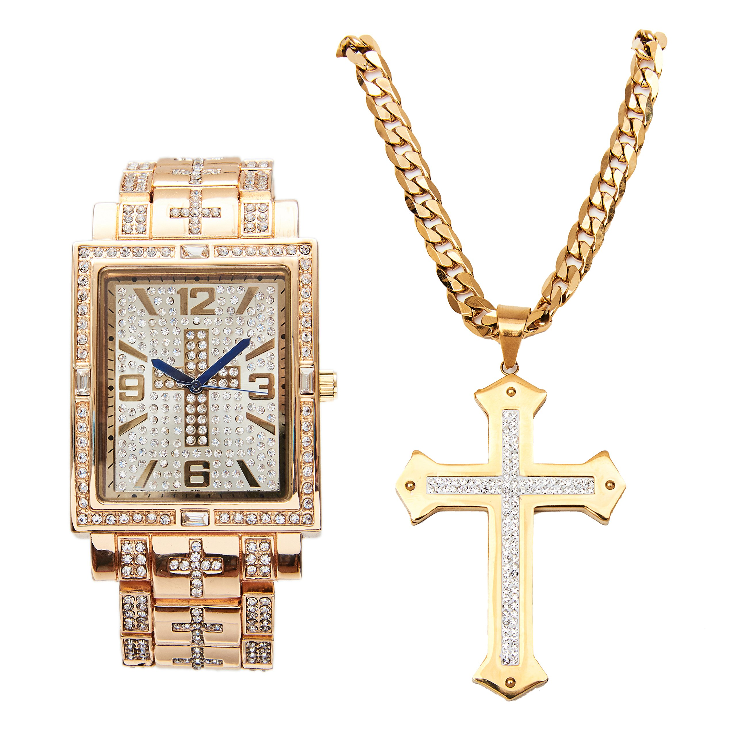 You Got Jesus with this Hip Hop Iced Out Cross Decor Rectangular Gold Bling Watch with Baquettes on Trim and Matching Iced Out Stainless Steel Cross Necklace - L0487GLD-LR1030CTT Cross Gold Set