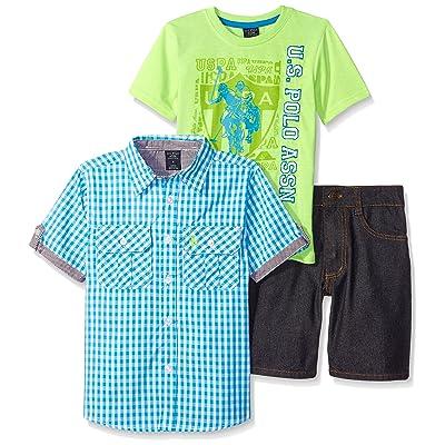 U.S. Polo Assn. Boys' 3 Piece Gingham Woven Shirt, T-Shirt, and Denim Short Set