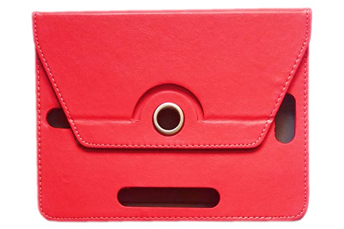 KANICT Rotating Tablet Leather Flip Case Cover Compatible for iBall Slide Octa A41  Red