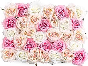Flowers Wall Decor 3D Flower Wall Panel Silk Flowers for Wedding Backdrop, Event Decor, Bridal Shower, Baby Girls Room, Nursery, Rose Wall Decor, Pink Room Decor (Premium Silk Rose Flowers)